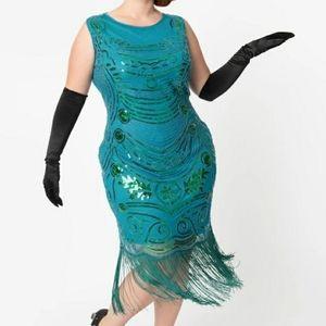 1920s Teal Beaded Yvette Fringe Flapper Dress